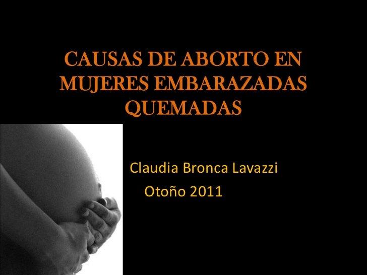 CAUSAS DE ABORTO ENMUJERES EMBARAZADAS     QUEMADAS     Claudia Bronca Lavazzi       Otoño 2011