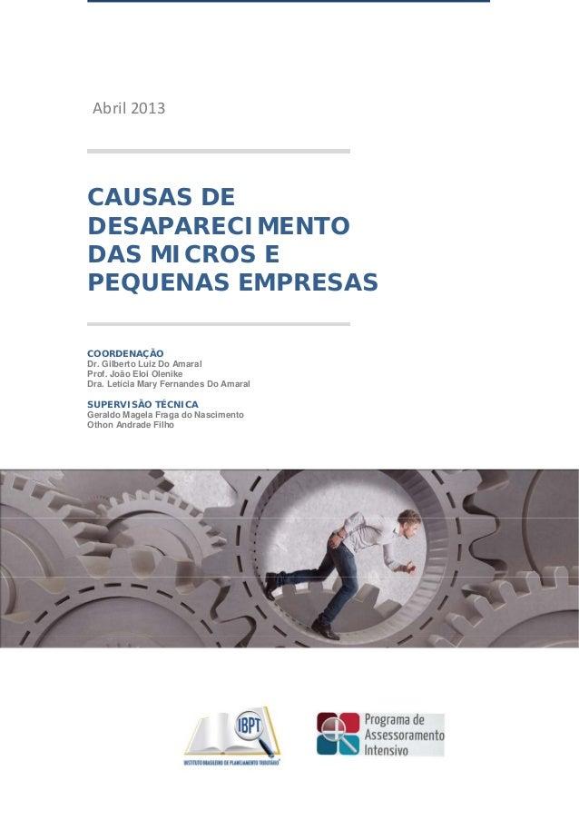 Abril2013    CAUSAS DE DESAPARECIMENTO DAS MICROS E PEQUENAS EMPRESAS COORDENAÇÃO Dr. Gilberto Luiz Do Amaral Prof. J...
