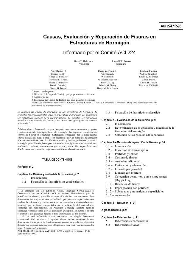 ACI 224.1R-93 Causas, Evaluación y Reparación de Fisuras en Estructuras de Hormigón Informado por el Comité ACI 224 Grant ...