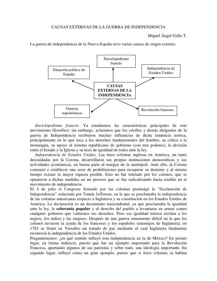 CAUSAS EXTERNAS DE LA GUERRA DE INDEPENDENCIA<br />Miguel Ángel Gallo T. <br />La guerra de independencia de la Nueva Espa...
