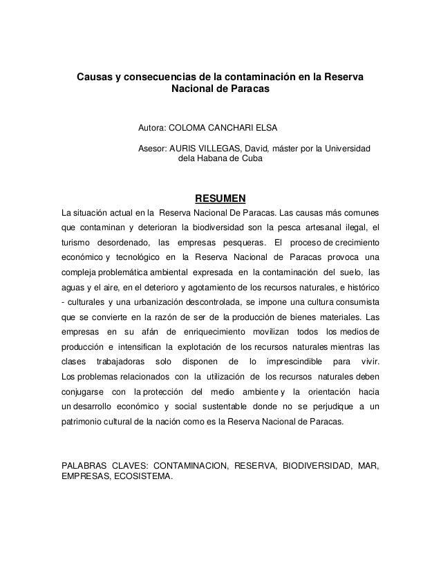 Causas y consecuencias de la contaminación en la Reserva Nacional de Paracas Autora: COLOMA CANCHARI ELSA Asesor: AURIS VI...