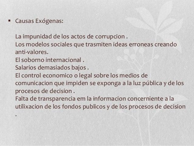Causas y consecuencias de la corrupción en el perú