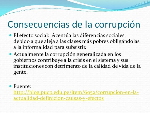 Causas y consecuencias de la Corrupción en el Perú Nadia