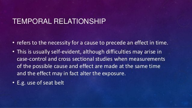TEMPORAL RELATIONSHIP • refers to the necessity for a cause to precede an effect in time. • This is usually self-evident, ...