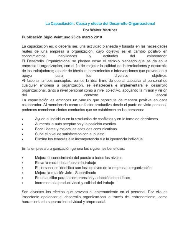 Publicación Siglo Veintiuno 23 de marzo 2010La capacitación es, o debería ser, una actividad planeada y basada en las nece...