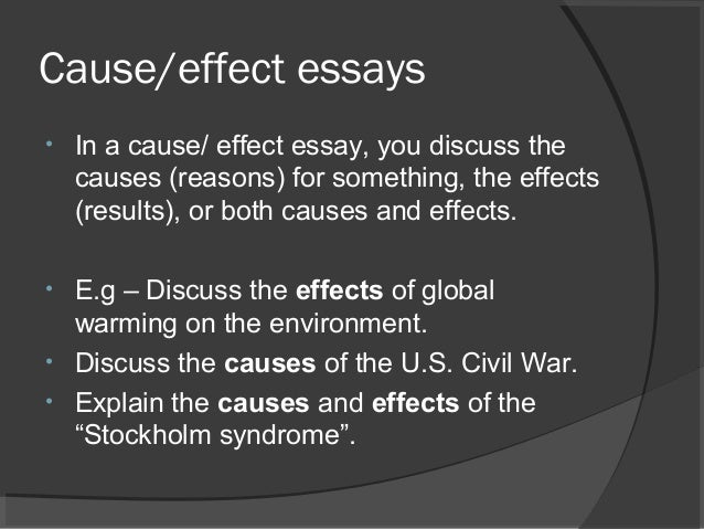 cause and effect essay cause effect