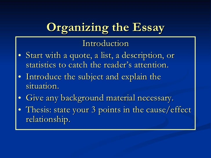 cause and effect essay  16 organizing the essay