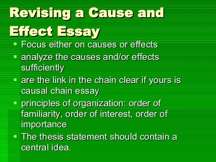 Cause And Effect Essay   Revising A Cause And Effect Essay