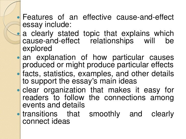 how to start an cause and effect essay A cause and effect essay is based on the there is a tendency of cause and effect essays to become more popular you can start by describing effects.