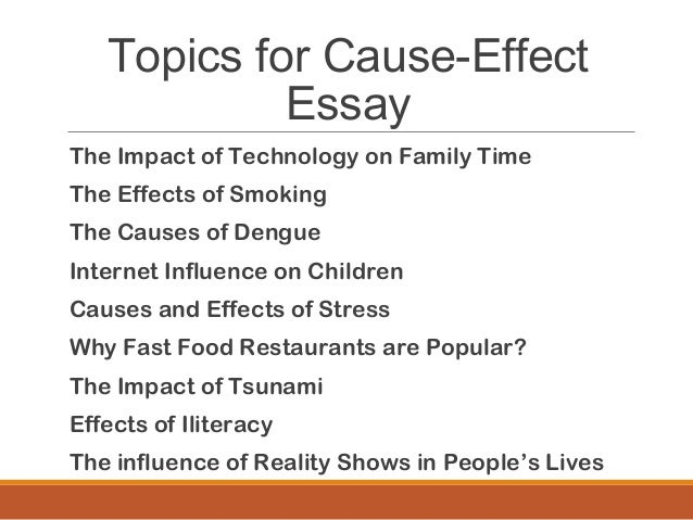 causes and effect of stress essay If you are looking for an example of a good cause/effect essay examples we have in this section of esl wave luis e ariza stress causes and effects of.
