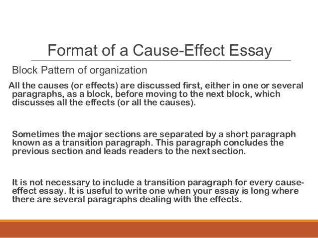 cause effect essay mass lecture  8 format of a cause effect essay