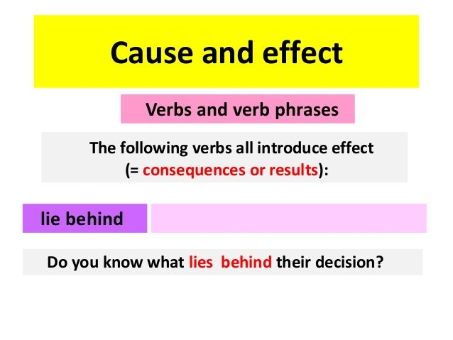 Cause and effect Verbs and verb phrases The following verbs all introduce effect (= consequences or results):  lie behind ...