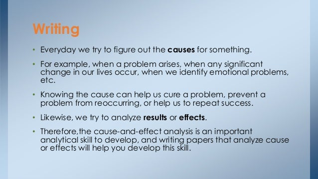 cause effect essay ielts Level 4 ielts writing task 2 task 2 – cause and effect essays task 2 on the ielts exam may require you to discuss the causes associated with an essay topic and.