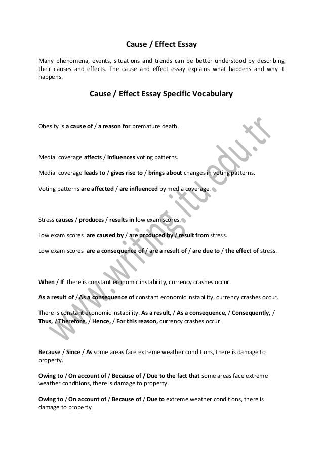 How Do I Write A Thesis Statement For An Essay Cause  Effect Essay Many Phenomena Events Situations And Trends Can Be  Better Understood  Example Of English Essay also Proposal Argument Essay Cause And Effect Essay Essay On Health
