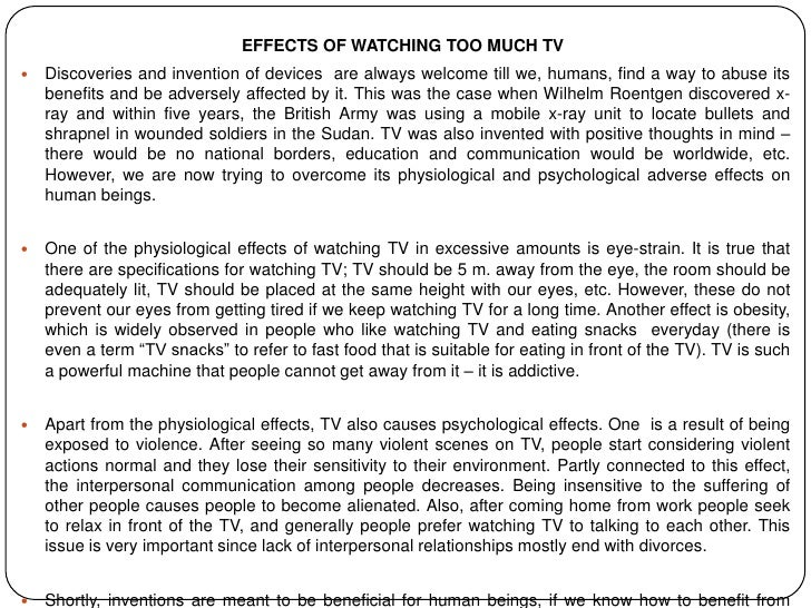 Effects Of Watching Too Much Tv Essay