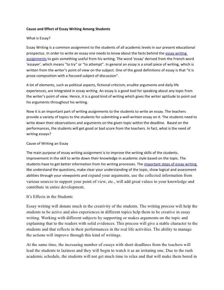 Cause & effect essay narrative essay introduction examples