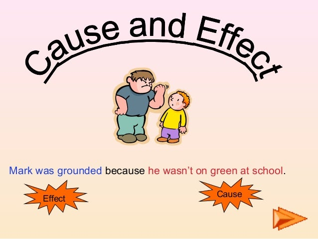 Mark was grounded because he wasn't on green at school.Effect Cause