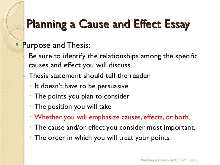 cause effectessay  12 planning a cause and effect essay