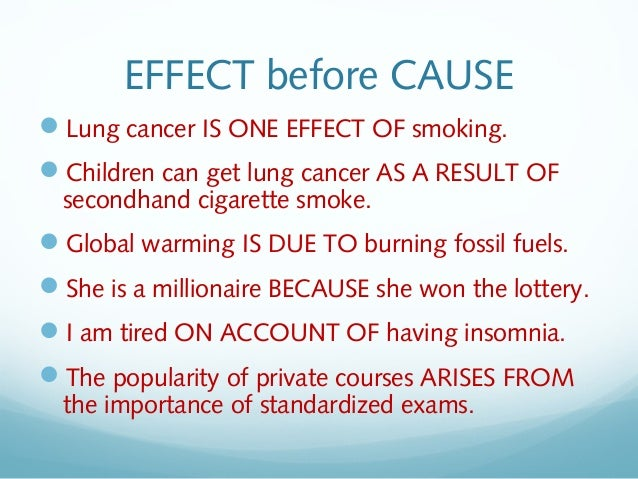 Cause and effect - Essay Example