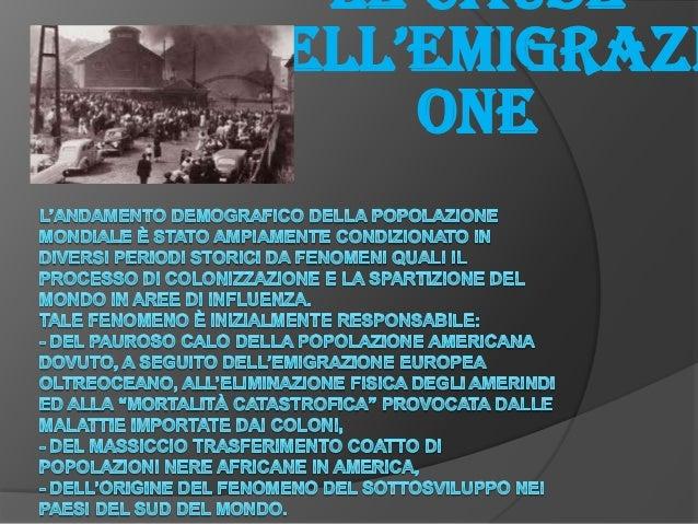 Le causedell'emigrazi     one