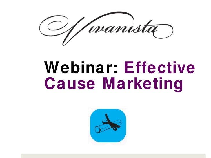 Webinar:  Effective Cause Marketing