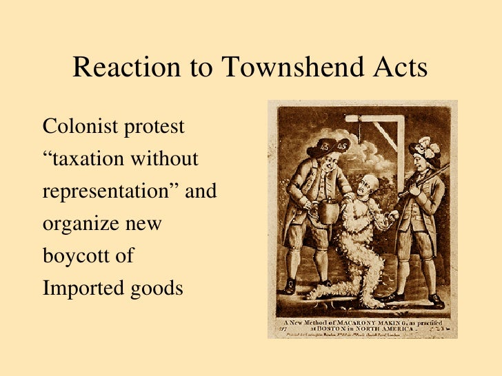 the townshend duties refer essay The townshend duties refer to a number of taxes introduced by charles townshend aimed at the colonists to finance tax cuts in england the townshend duties were repealed but the tea duty still remained (hawkins, 33).