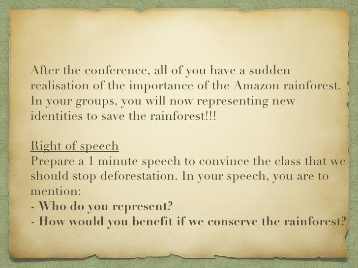 speech on deforestation in the amazon Local and global effects of deforestation in the amazon rain forest part of speech definition national geographic society writer.