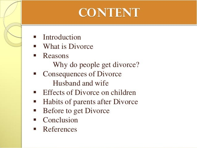 the consequences of divorce Involved in each of these divorces was an average of 101 children  were  subjected to the effects of marital disruption (us bureau of the census, 1980.