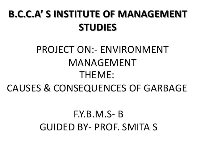 B.C.C.A' S INSTITUTE OF MANAGEMENT                STUDIES     PROJECT ON:- ENVIRONMENT           MANAGEMENT             TH...