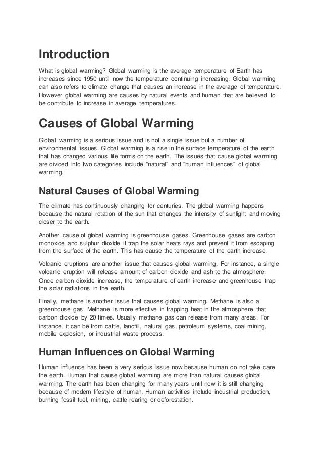 Essays on global warming effects