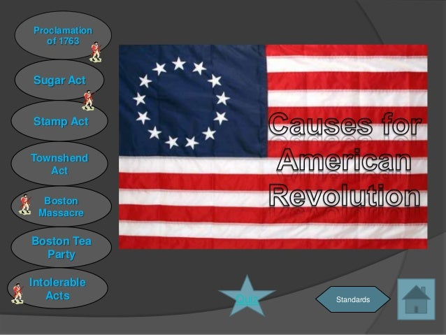 Proclamation   of 1763Sugar ActStamp ActTownshend   Act  Boston MassacreBoston Tea  PartyIntolerable   Acts        Quiz   ...