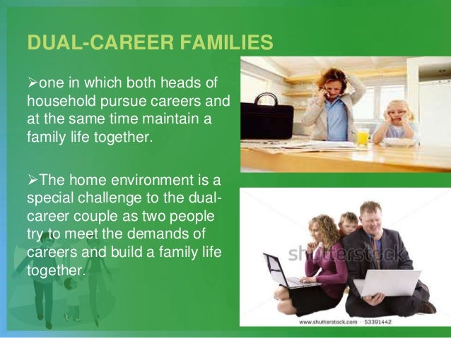 DUAL-CAREER FAMILIES one in which both heads of household pursue careers and at the same time maintain a family life toge...