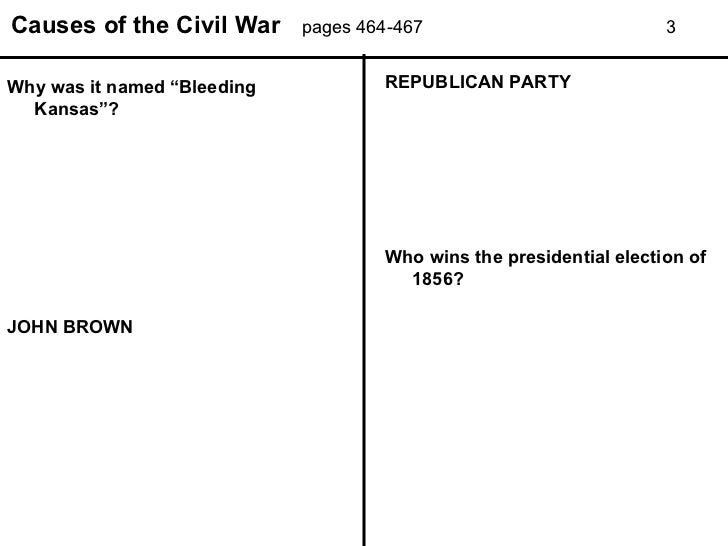 Bleeding Kansas Worksheet: causes of the civil war power point worksheet,