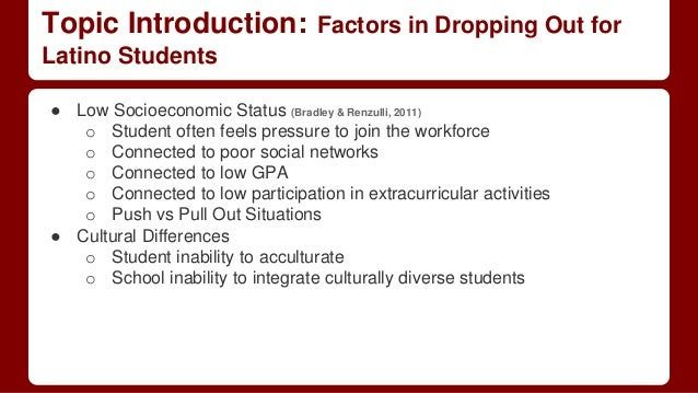 causes and effects of dropping out High school students generally drop out because of the effects of abuse, poverty, emotional issues, cognitive deficiencies and lack of support.