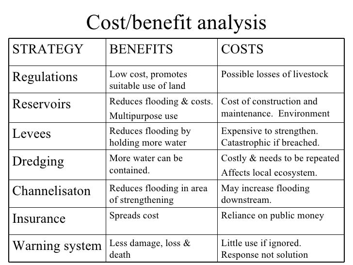 Cost/benefit analysisSTRATEGY         BENEFITS                   COSTSRegulations      Low cost, promotes         Possible...