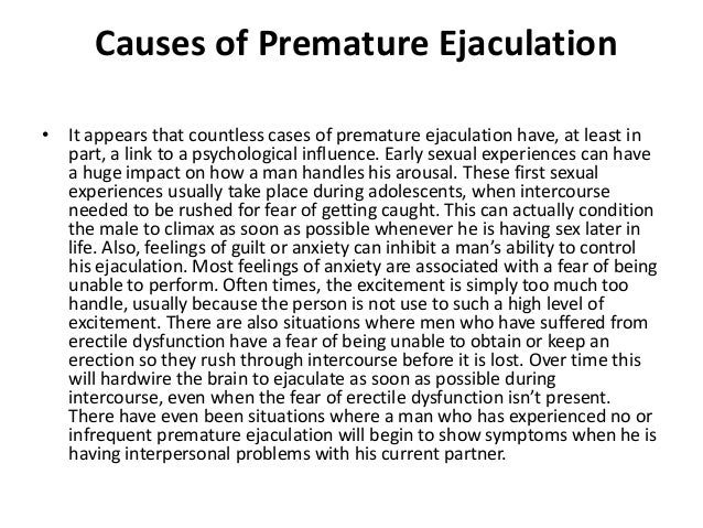 How old Cause Of Ejaculation Premature What Is crucial
