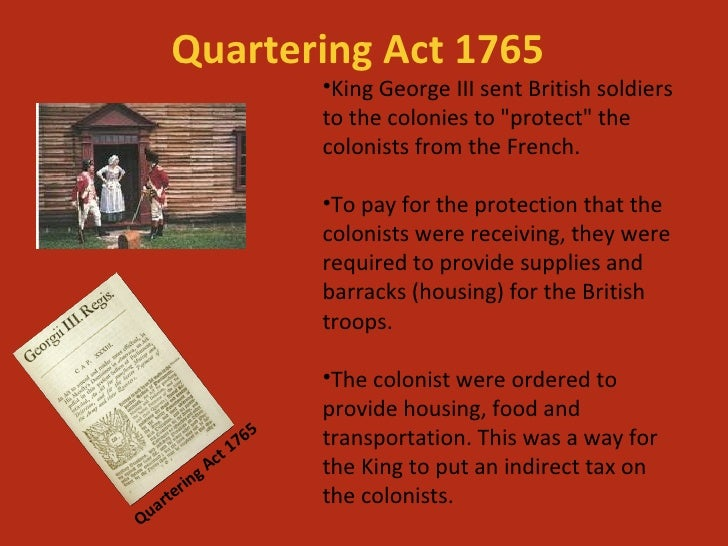 Parliament passes the Quartering Act