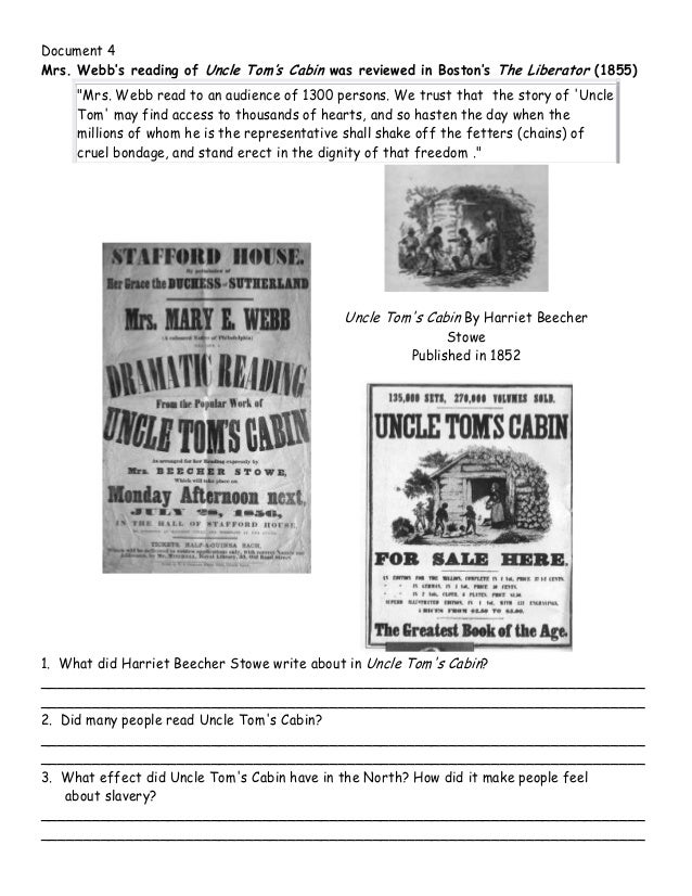 causes of the civil war dbq w questions 6 document 4 mrs webb s reading of uncle tom s cabin