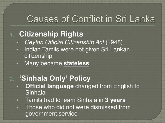Causes of the Conflict in Sri Lanka