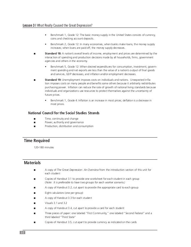 Causes of the Great Depression – Causes of the Great Depression Worksheet