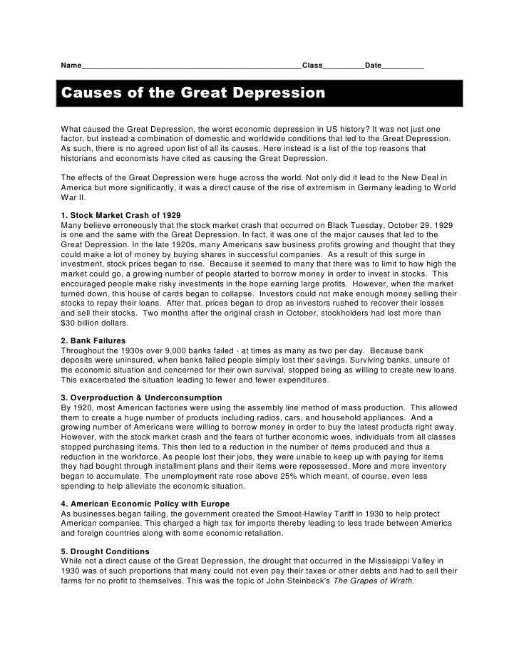 Name____________________________________________________Class__________Date__________<br />Causes of the Great Depression<...