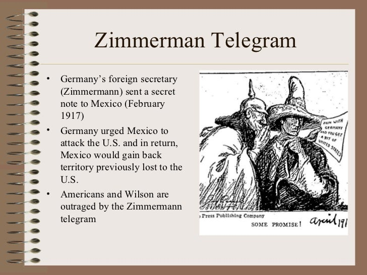 zimmerman telegram notes An intercepted telegram between germany and mexico led the united states to  declare war.