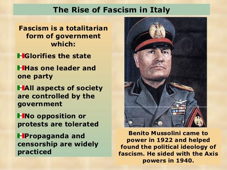 fascism impact on italy Mussolini's domestic policies had a massive impact on italy between 1922 and 1939 they were driven by mussolini's dream of establishing a powerful authoritarian state with a central.