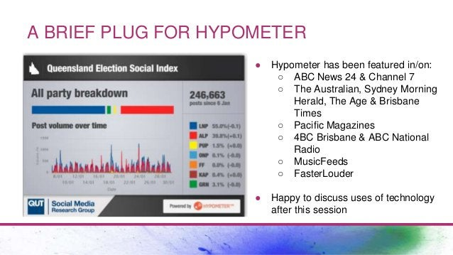 A BRIEF PLUG FOR HYPOMETER ● Hypometer has been featured in/on: ○ ABC News 24 & Channel 7 ○ The Australian, Sydney Morning...
