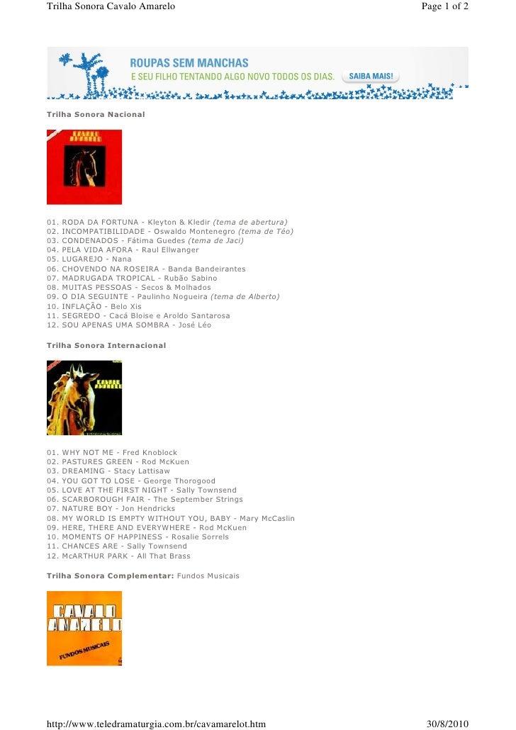 Trilha Sonora Cavalo Amarelo                                  Page 1 of 2     Trilha Sonora Nacional     01.   RODA DA FOR...