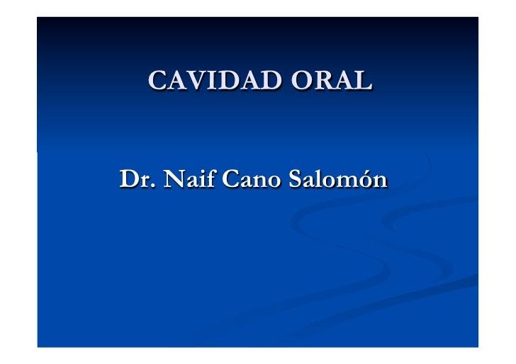 CAVIDAD ORALDr. Naif Cano Salomón