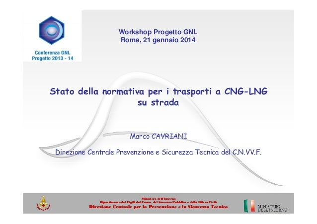 Workshop Progetto GNL Roma, 21 gennaio 2014  Stato della normativa per i trasporti a CNG-LNG su strada  Marco CAVRIANI Dir...