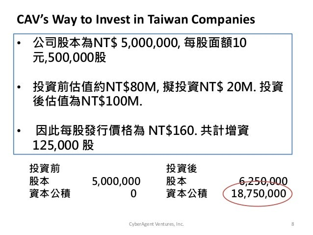 CyberAgent Ventures, Inc. 8• 公司股本為NT$ 5,000,000, 每股面額10元,500,000股• 投資前估值約NT$80M, 擬投資NT$ 20M. 投資後估值為NT$100M.• 因此每股發行價格為 NT$...