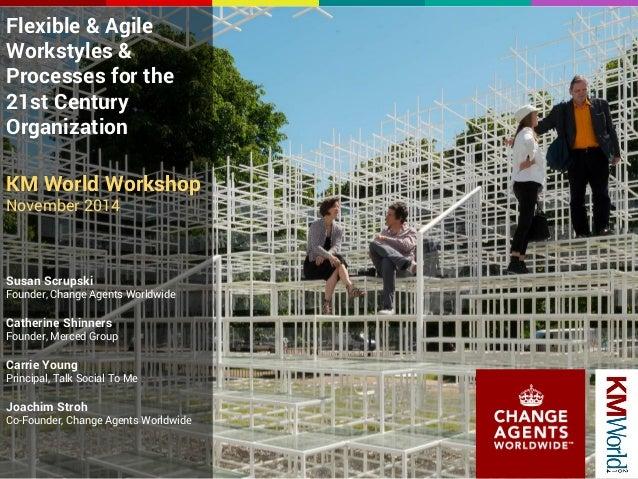 Flexible & Agile  Workstyles &  Processes for the  21st Century  Organization  KM World Workshop  November 2014  Susan Scr...