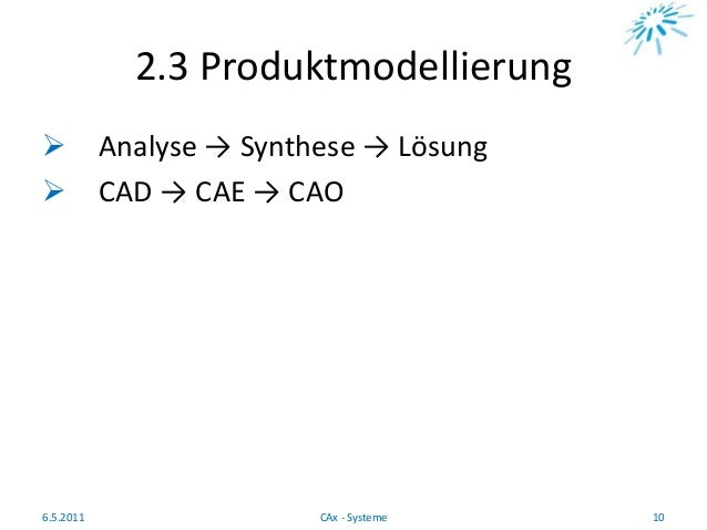 2.3 Produktmodellierung  Analyse → Synthese → Lösung  CAD → CAE → CAO 6.5.2011 10CAx - Systeme